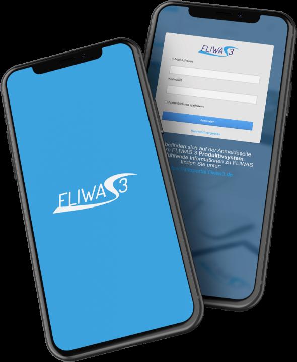 Auf den Displays zweier Smartphones ist die FLIWAS App zu sehen